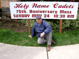 George King 54-61 installing sign on lawn of Holy Name Church photo courtesy of Dave Shaw